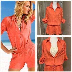 NWOT Victoria's Secret Coral Orange Linen Romper